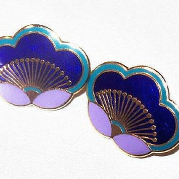 "Laurel Burch Plum Blossom Earrings Post Backs Blue Purple Enamel gold Metal 1"" Vintage"