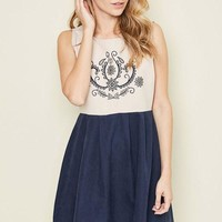 Indigo Pleated Embroidered Dress