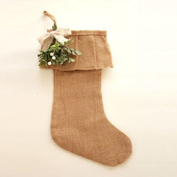 Personalized Christmas Stocking . burlap stocking . personalized stocking . Shabby Chic Christmas gift bag