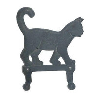 Cast Iron CAT Wall Hanging Hooks, Vintage Metal Kitty Cat Key Rack, 40s Dark Gray Iron Casting Cat Jacket Hat Hanger Rustic Home Decor Gift