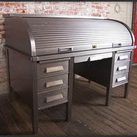 Metal Roll Top Desk - The Awesomer