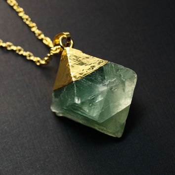 Raw Fluorite Diamond Necklace