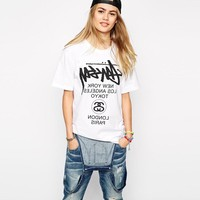 """""""Stussy"""" Unisex Fashion Casual Letter Print Loose Short Sleeve Couple Shirt Top Tee"""