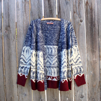 native navy and burgundy open cardigan | final sale