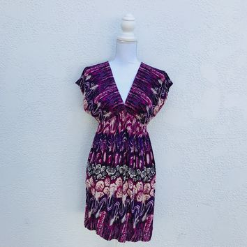 Xhilaration High Waist Purple Print Dress, Size Small
