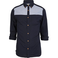 River Island MensNavy chambray panel Oxford shirt