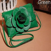 Fashion New Women Party Handbag Girls PU Leather Rose Floral Clutch Small Bag Shoulder Bags