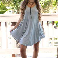 The Last Song Heather Grey Casual V-Neck T-Shirt Dress