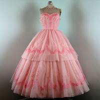 Vintage 1950s Prom Dress // Pink Embroidered Organza Prom Dress // 6/8/M 38Bust