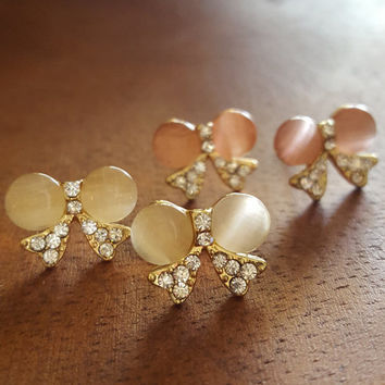 Dainty earrings Rhinestone gold plated stud earrings cute bow statement earring jewelry gift wedding gift