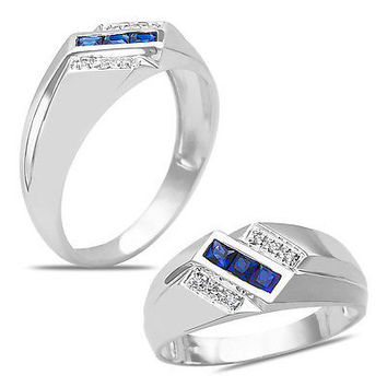 Men's Diamond Accent Created Sapphire Ring in 10k White Gold