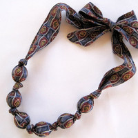 Fabric Necklace, Beaded Necklace, Navy Blue, Maroon, Yellow