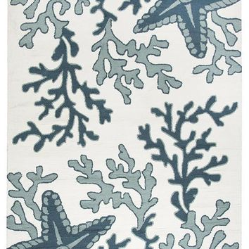 """Azzura Hill Collection Hand-Tufted Area Rug, 7'6"""" x 9'6"""", Off-White/Navy By Rizzy Home"""