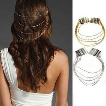 2 Pieces/lot Newest Fashion Bohemian Egyptian Gold Silver Women Lady Hair Comb Clip Tassel Chain Punk Hairwear Jewelry Acessories = 1928761860