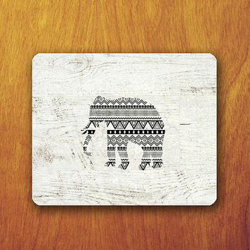 Elephant Aztec Mouse Pad Wood not real wood Pattern Beautiful Abstract Mat Office Deco Desk Word Pad Personalized Pad Gift Personalized mat