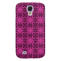 Geometric Floral Hot Pink and Black Galaxy S4 Covers