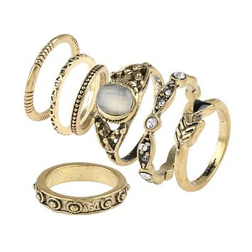 Fashion Vintage Opal MIDI Rings Set Antique 7pcs / Sets BOHO National Style Female Charms Jewelry Ring for Women