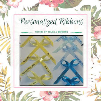 Personalized Ribbons - For Wedding Bridal Shower Baby Shower Celebration Party Favor Custom Wording Assembled Ribbons for Gifts | Pack of 25