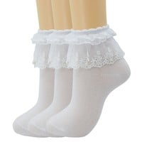 Women Lace Ruffle Frilly Ankle Socks Fashion Ladies Girl Princess H06