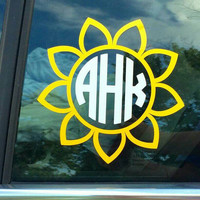 "7"" Sunflower Monogram Car Decal OnSkinkerLane"