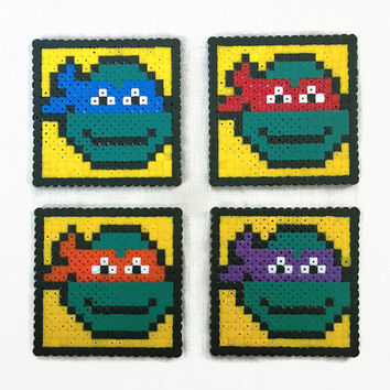TMNT drinks coasters , teenage mutant ninja turtle hama / perler bead drinks coasters , video game film pixel art , uk seller