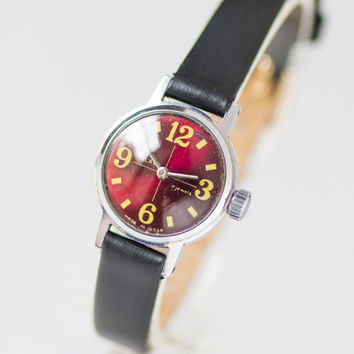 Burgundy face women's watch, simple lady's wristwatch Glory, water protected watch tiny, 70s wristwatch petite, new premium leather strap