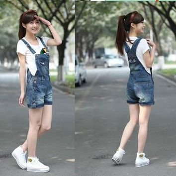 2016 summer lady loose ripped denim overalls plus size casual denim shorts pants suspenders Jumpsuits Rompers women jeans