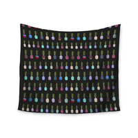 "Monika Strigel ""Pineapple People Black"" Black Multicolor Wall Tapestry"