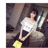 Thin Short-Sleeved Loose Shoulder Mesh Lace Chiffon Shirt