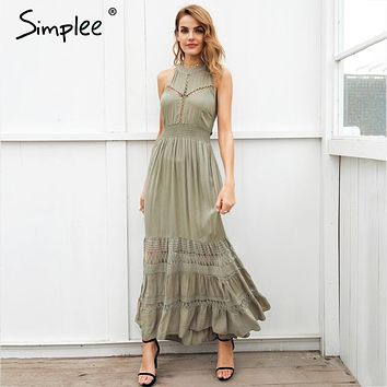 6abe34c9101 Simplee Halter hollow out long summer dress women Backless tie u