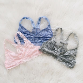Racer Back Lace Bralette (Light Pink, Wild Blue, Silver Gray)