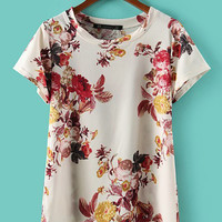 White Floral Short Sleeve Top