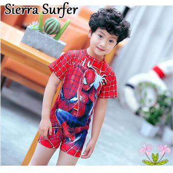 One Piece Swimsuit Kids Swimwear For Girls Children Bikini Swimming Suits Suit Boys Spider Man With Cap Long Sleeve Boy Scout