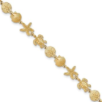 14k Yellow Gold Turtle Sand Dollar Shell And Starfish 7.25in Link Bracelet