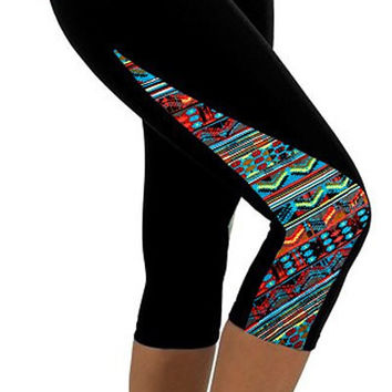 Black and Blue Ethnic Print Capri Pants