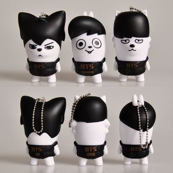 KPOP BTS Bangtan Boys Army New    Boys Carton Q Version Dolls Ugly Baby Bags Jewelry Key Ring The Same Star Official Ring AT_89_10