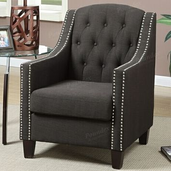 Collette collection ash black fabric upholstered tufted back accent chair with nail head trim