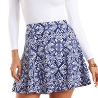 Damask Print Skater Skirt by Charlotte Russe - White/Blue