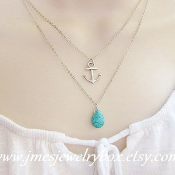 Silver anchor and turquoise layering necklace set