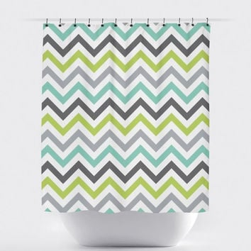 Lime/Gray Chevron Shower Curtain