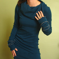 cowl tunic dress/extra long sleeves Teal blue