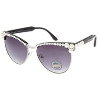 Farrah White Cultured Pearl Embellished Black Sunglasses
