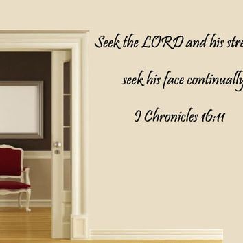 Bible Verse Wall Decal, 1 Chronicles 16:11, Scripture Wall Decal