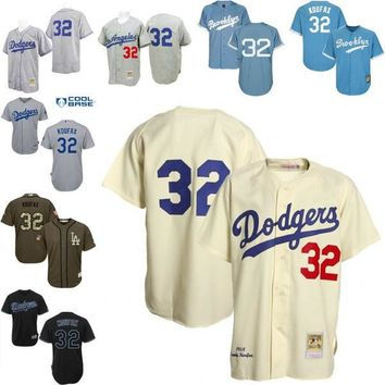 Grey light blue Cream Throwback Sandy Koufax Authentic Jersey , Men's #32 Mitchell And Ness Los Angeles Dodgers