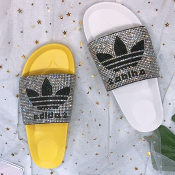 Adidas Summer New Fashion shining Diamond Clover Slipper Female shoes two color