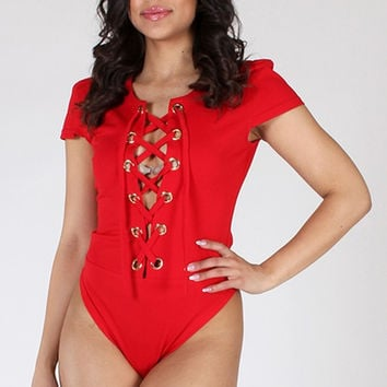 A Style lace up Body Suit