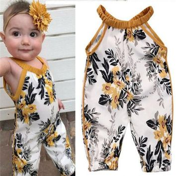 US Stock Newborn Baby Girls Rompers Sleeveless Floral Clothes Bodysuit Jumpsuit