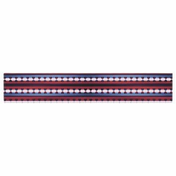 """Ebi Emporium """"Hearts Together, Pink Blue"""" Red Blue Mixed Media Table Runner"""
