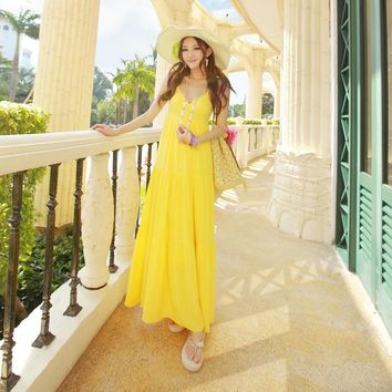 Summer Bohemia Cotton Spaghetti Strap Prom Dress Sea Vacation Dress Maxi Dress [6268824198]