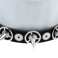 Silver Spike Cog Steampunk Leather Choker Necklace